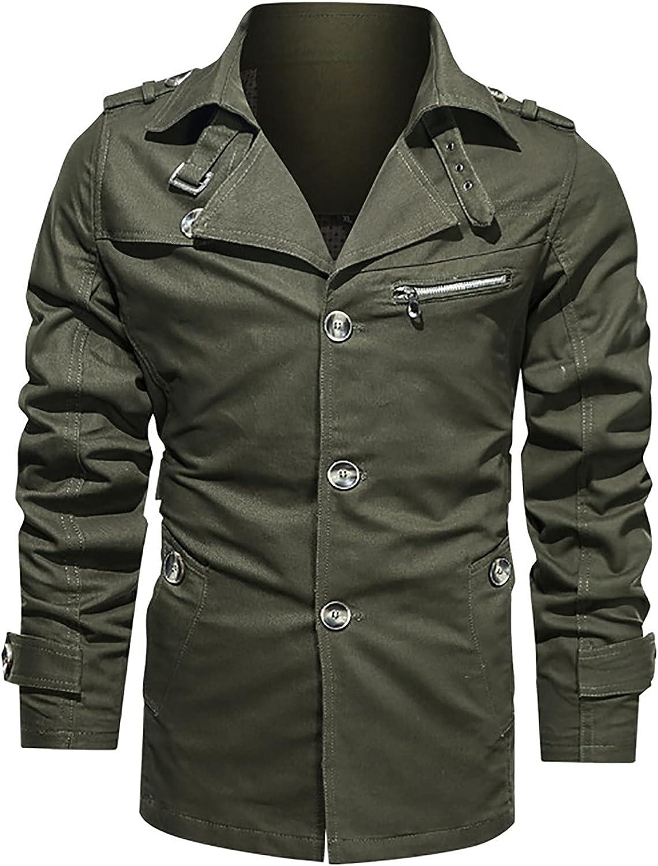 Men's Field Jacket Cotton Military Classic Vintage Concealed Hooded Coat Tooling Wind Jacket Zipper Coat