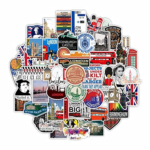 Cabina de teléfono de autobús de Londres Pegatinas Decorativas teléfono portátil álbum de Recortes calcomanías de Equipaje Accesorios 50 Uds
