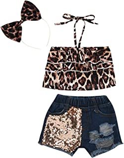 Conjuntos de Ropa para Ni/ñas Leopardo Volante Fruncido Chaleco Lentejuelas Mezclilla Pantalones Cortos Ropa Primavera Verano Recien Nacido para 12 Meses a 5 a/ños