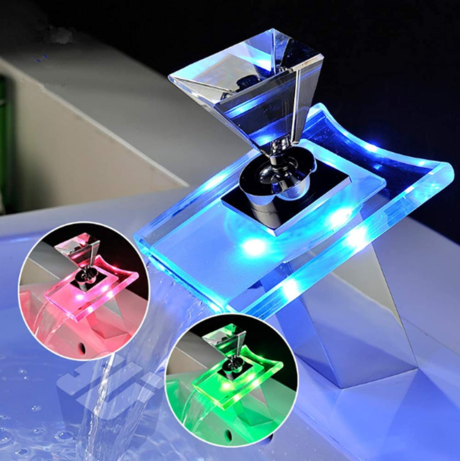 Waterfall Bathroom Sink Faucet Led Light Colour Changing One Hole Single Handle Glass Bathroom Basin Tap With Temperature Sensor Ceramic Valve