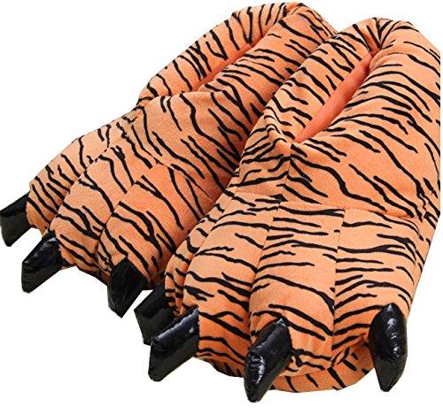 LANFIRE Zapatillas de casa de Felpa Suave Unisex Animal Disfraz de Pata de Garra (L (40-44 /EUR), Tigre(Tiger))