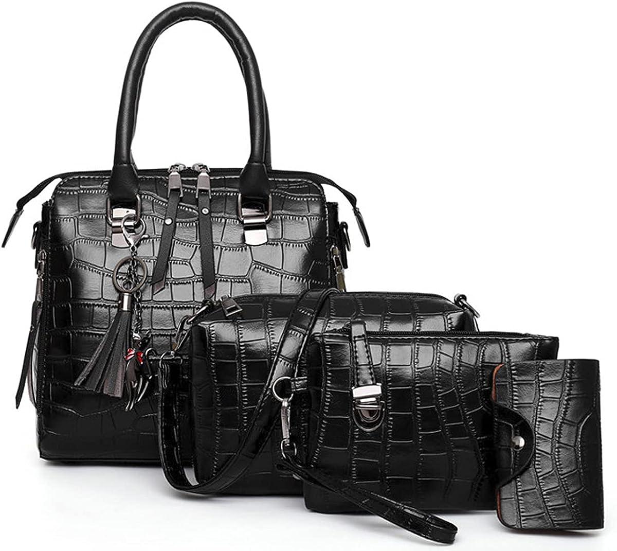 Women Handbag PU Leather Top Handle Satchel Shoulder Bags Messenger Tote Bag for Ladies 4 Pcs Set-Black
