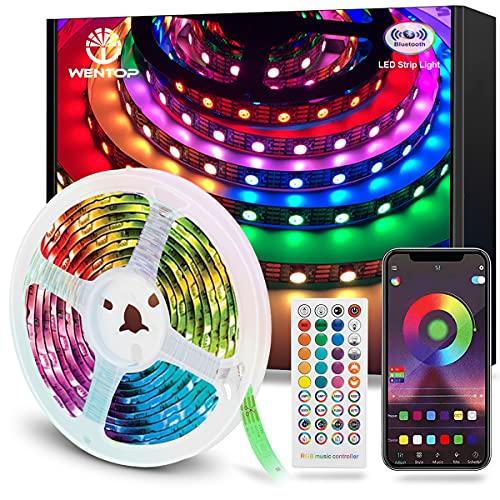 WenTop Tira LED Bluetooth 10m, Luces LED Habitación 10 Metros, RGB Tiras LED con Control Remoto y Inteligente Control de APP, Cambia el Color con la Música, Para Decoración de Bares, Fiestas, Cocina