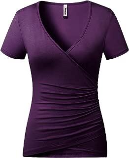 Women's Top Deep V Neck Slim Fitted T-Shirt Front Criss-Cross Wrap Short/Long Sleeve Tee