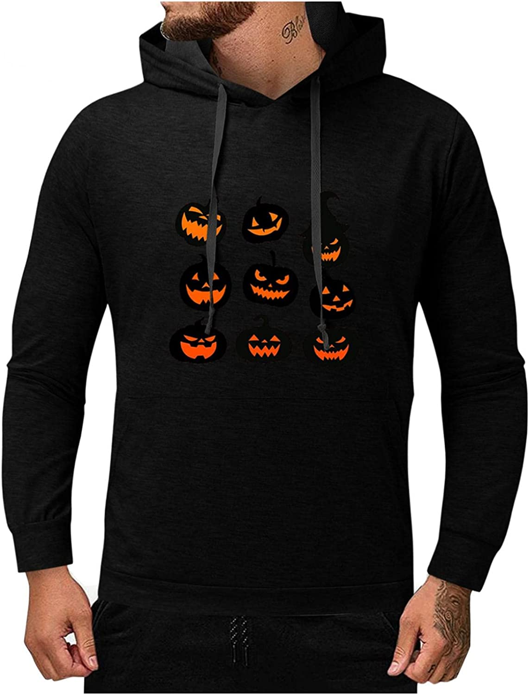 Men's Halloween Sweatshirts Hoodies Long Sleeve Pumpkin Funny Casual Novelty Ghoust Horror Outdoor Sports Tops Blouse