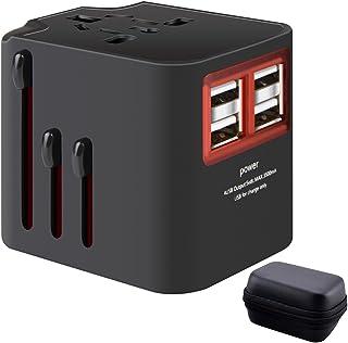 海外旅行用マルチ変換プラグ+EVA収納ケース 充電用USB4ポート(3.5A)付き100V-250V 世界中150ケ以上の国に対応A・BF・C・A・Oタイプコンセント 海外出張便利グッズ 変換アダプタ 電源プラグ 海外変換プラグ 安全保護付 オールインワン Samsung S9 / S9 Plus / NOTE 9 / iPhone 8 / 8 Plus /iPhone X スマートホン タブレットなど対応 (ブラック)