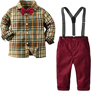 Boys Clothes Sets Toddler Boy Christmas Outfits Gentleman Suits 2pcs Bow Tie Shirts and Suspenders Pants