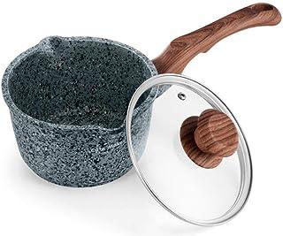 Olla de Leche 16cm gris sopa de olla de cocina Herramienta antiadherente leche Olla Salsa Mini Pan Olla (Color : Grey, Sheet Size : 16cm)