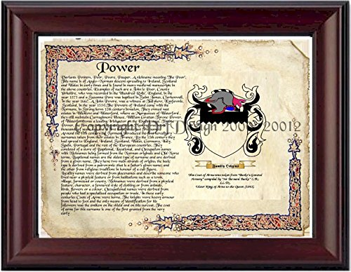 Power Coat of Arms/ Family Crest on Fine Paper and Family History