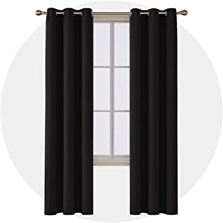 Deconovo Room Darkening Thermal Insulated Blackout Grommet Window Curtain 2 Panels for Bedroom Black 42x84-Inch