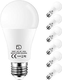 Ampoule Led E27 Standard A60, 9W équivalent 90W 900 Lumen, Blanc Naturel 4500K, Lot de 6