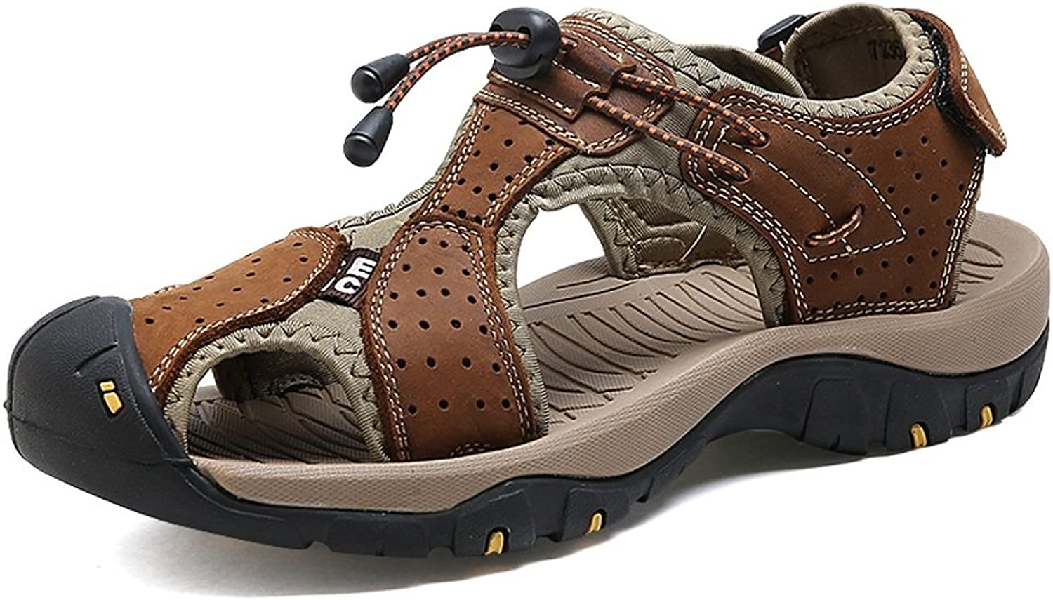 JIALUN-Sandals Comfortable Men's Beach Sandals Genuine Leather Breathable Perforation Upper shoes