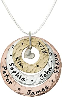 Happiness All Around Personalized Family Mixed Metal Necklace with Customizable Sterling Silver, 14k and Rose Gold Plated Hand Stamped Washers and Choice of Sterling Silver Chain