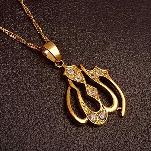 WSBDZYR Co.,ltd Necklace Fashion Allah Necklace Charm Pendants Gold Color Islamic Jewelry Middle East Muslim Eid