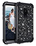 Casetego Compatible Galaxy S9 Case,Glitter Sparkle Bling Three Layer Heavy Duty Hybrid Sturdy Armor Shockproof Protective Cover Case for Samsung Galaxy S9-Shiny Black