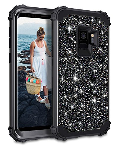 Casetego Compatible Galaxy S9 Case,Glitter Sparkle Bling Three Layer Heavy Duty Hybrid Sturdy Shockproof Protective Cover Case for Samsung Galaxy S9-Shiny Black