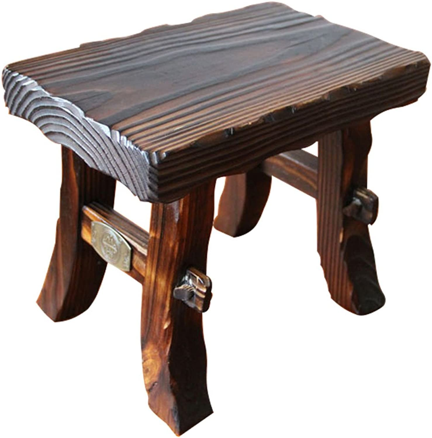 QIDI Stool Household Foyer Bedroom Living Room Retro Wood Square (color   Style 2)
