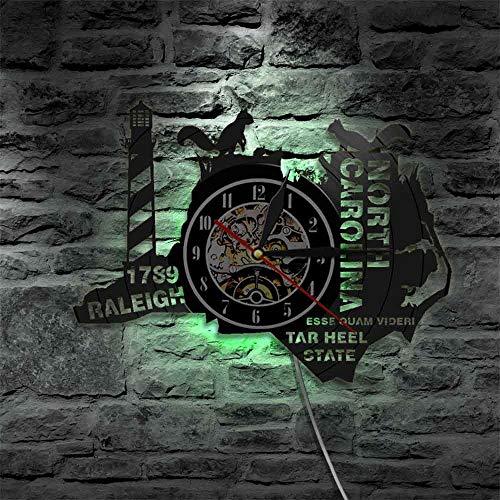 Reloj de pared The Tar Heel State Carolina del Norte Reloj de pared de vinilo del estado de Estados Unidos Living In North Caroline Regalos para la Homesick luces LED