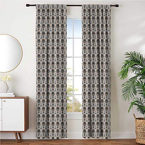 Backdrop Curtains Digital-Printing for Family Home Afternoon Naps, Mid Century Modern Continuous Pattern of Lovely Cups in Neutral Tones W72 x L84 Inch, Pale Sepia Charcoal Grey White