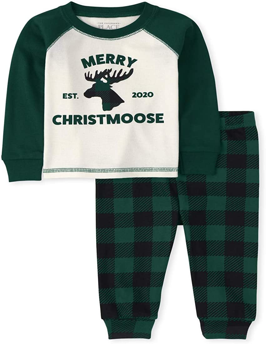 The Childrens Place Boys Unisex Baby and Toddler Matching Family Christmas Moose Snug Fit Cotton Pajamas