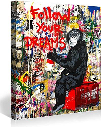 Banksy Bilder Leinwand Follow Your Dreams Graffiti Street Art Leinwandbild Fertig Auf Keilrahmen Kunstdrucke Wohnzimmer Wanddekoration Deko XXL (40x60cm(15.7x23.6inch))