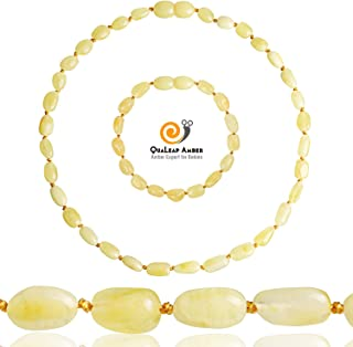 Baltic Amber Teething Necklace + Amber Teething Bracelet Set for Baby (Unisex - Butter - 12.5 Inches / 5.5 Inches), 100% Authentic Amber Necklace and Amber Teething Anklet for Infant & Toddler