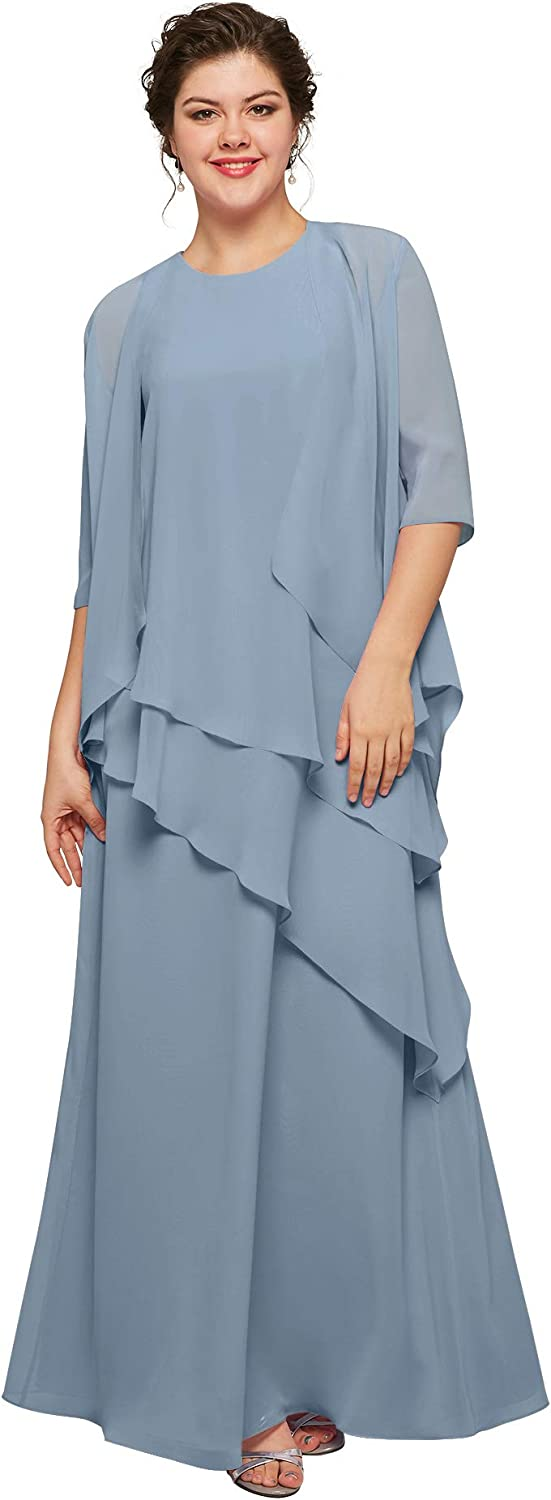 AW BRIDAL Chiffon Long Dusty Blue Plus Size Mother of Bride Dress with Jacket Formal Evening Dress for Wedding,US18