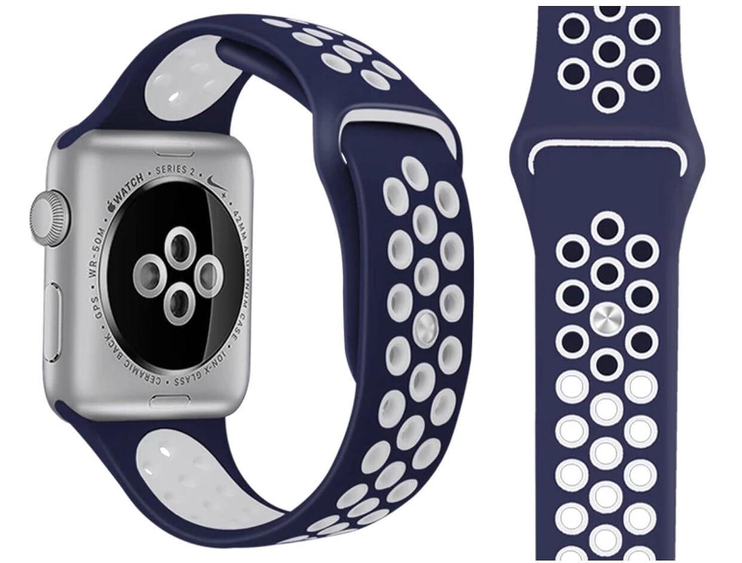 財団コンクリート余分なApple Watch スポーツバンド 高級シリコンバンド Nike/New Apple iWatch Series 3/Series 2 Series 1 対応 通気 汚れ防止 水洗い可 42mm ((ブルー+ホワイト))