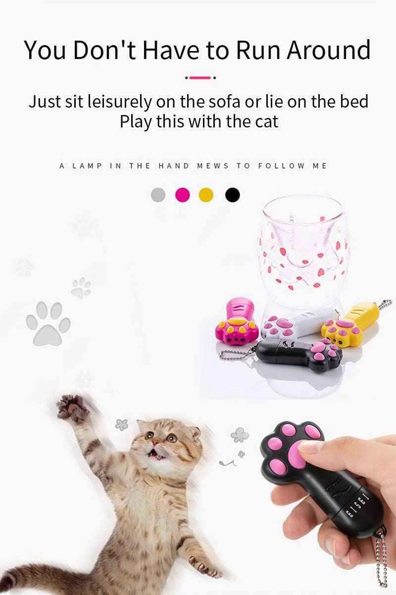 Interactive Chaser Toys USB Rechargeable EISEI 3 in 1 Paw Style Cats Toys White Pet Training Exercise Tool /…
