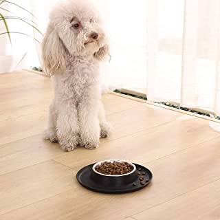AmazonBasics Round Silicone Mat and Pet Bowl - Small, Black