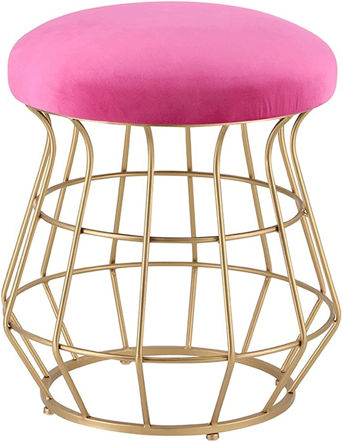 TXXM Barstools Metal Fashion Makeup Stool gold Stool Leg Stool Dining Chair Coffee Table Stool (color   RED, Size   H45CM)