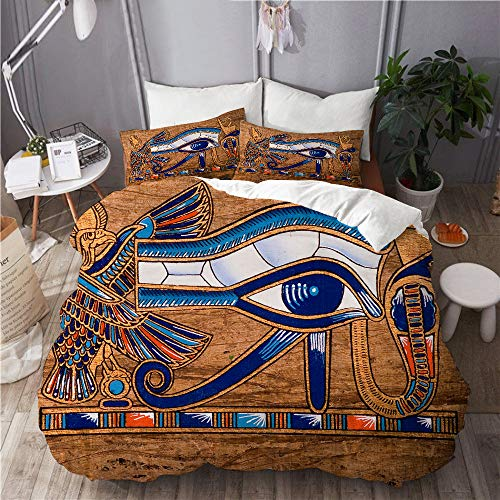 BEITUOLA Bedding Juego de Funda de Edredón,Papiro Egipcio Que representa el Ojo de Horus,Microfibra Funda de Nórdico y Fundas de Almohada-(Cama 220 x 240cm)