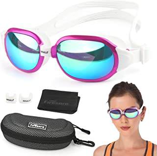 Firesara Swim Goggles, Swimming Goggles UV Protection Anti Fog No Leaking Large Frame Wide View Pool Goggles with Hard Protective Case for Women Men Adult Youth Kids