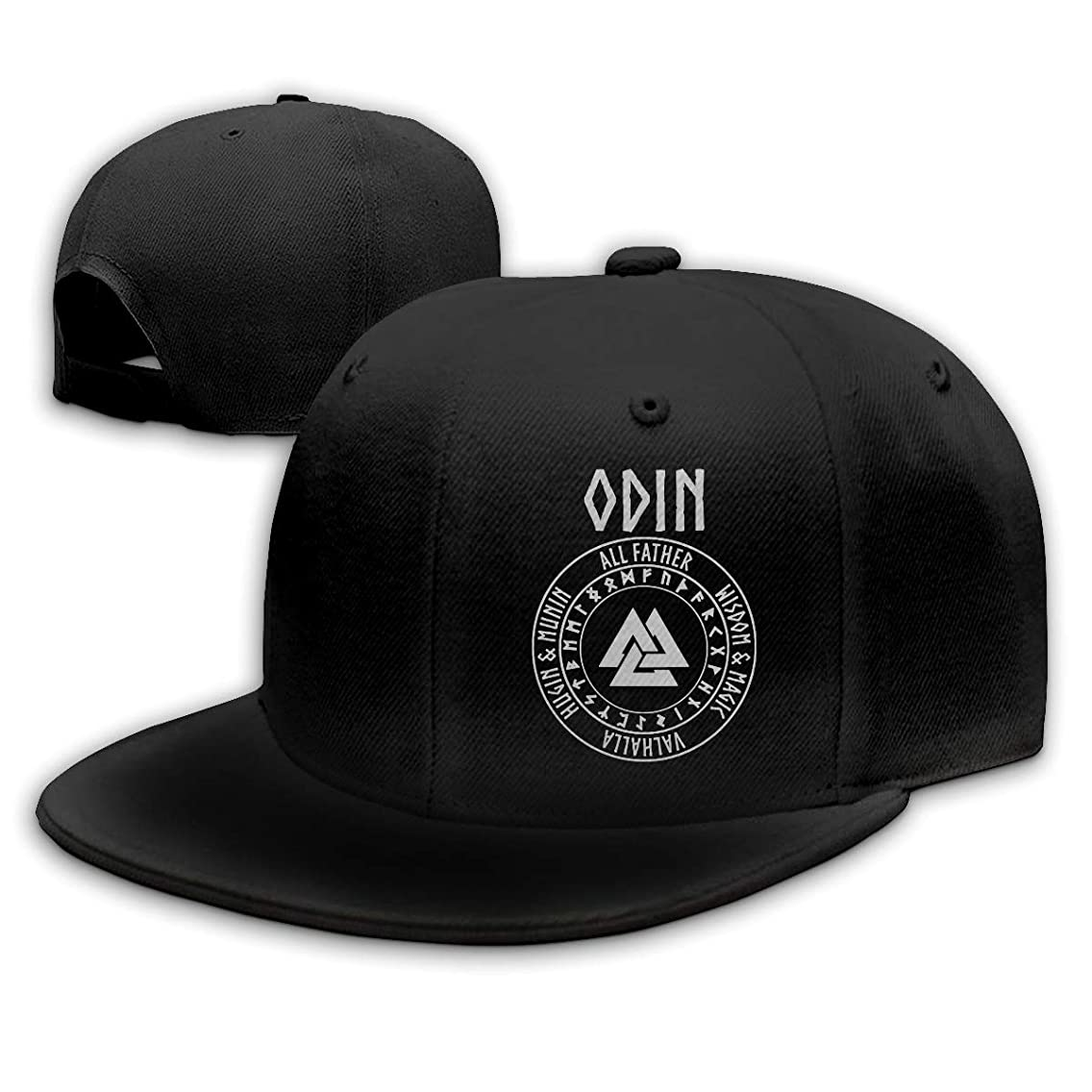 Odin Viking God Valknut with Runes Baseball Cap Flat Hat Unisex Snapback Cap