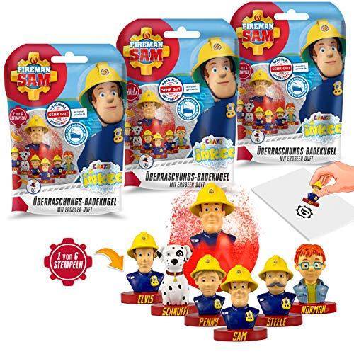 CRAZE- Pack 3 Bombas Infantiles de Sam el Bombero con Juguete Regalo Sorpresa figurita cuño. Lote de 3 Sales de Baño Espumosas para Bañera o Piscina de Niños con Olor a Fresa, Multicolor (29442)