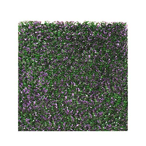 ECOOPTS 20' x 20'Artificial Ivy Fence Greenery Panel Laurel Boxwood for Outdor Indoor Backyard Garden Privacy Fence Ivy Screen Lavender Buxus 6 Pieces