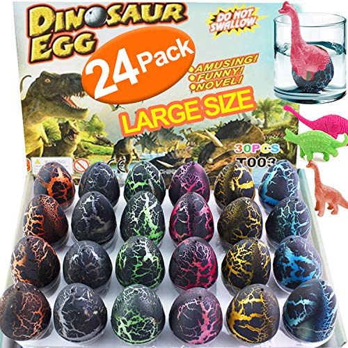 iGeeKid 24 Pcs Easter Dinosaur Eggs, 2.5'' Large Size Dinosaur Eggs That Hatch in Water Dinosaur Party Favor for Boys Kids Easter Basket Stuffers Fillers, Easter Gifts (24 Piece)