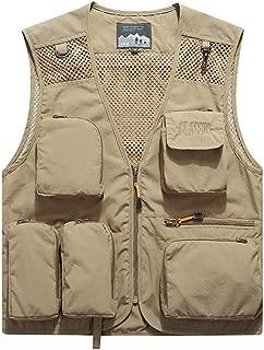 XXT Vest Spring Camouflage Vest Personality Slim Handsome Multi-Pocket Outdoor Sleeveless Jacket Practicality (Color : Khaki, Size : XXL)
