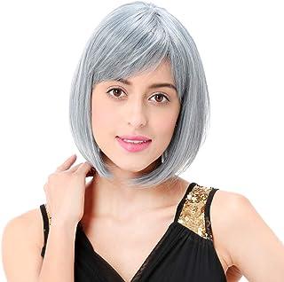 STfantasy Gray Bob Wig Short Straight Synthetic Hair for Women Girl Cosplay Costume Halloween Everyday Daily Wear (Grey)