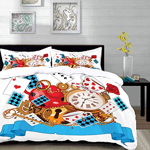 ropa de cama: juego de funda nórdica, Alicia en el país de las maravillas, diseño loco de tarjetas, relojes, teteras, llaves, flores, mundo de fantasía, ilustración, funda nórdica de microfibra con 2