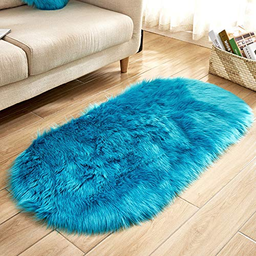 Unbekannt Cilected Wolle Nachahmung Schaffell Teppich Oval Künstliche Plüsch Bodenmatte Wohnzimmer Schlafzimmer Einfache Anti-Rutsch-Matte Decke,F-60 * 150