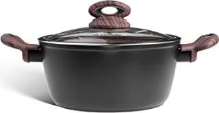 Ecowin 5 Quart Nonstick Stock Pot, Aluminum Casserole Dish Pasta Pot with Tempered Glass Lid and Spouts, Keep Cool Handle, Free of APEO PFOA, Easy to clean