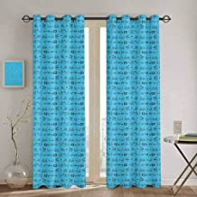 Homrkey Blue and Black Curtain Panels Doodle Style Cinema Movie Theater Icons Camera Seat Popcorn Clapper Waterproof Fabric W100 x L84 Inch Pale Blue and Black