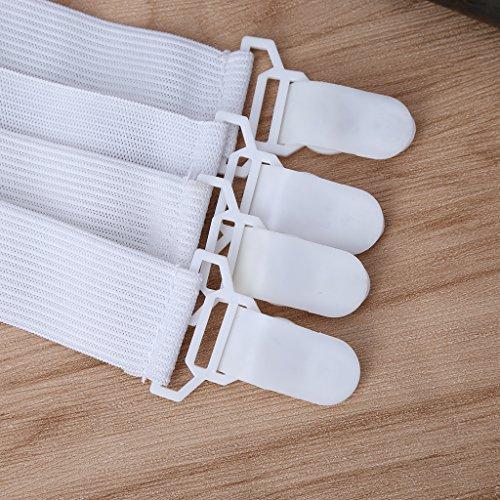 Boji 4 Stück Verstellbar (21cm Bis 90cm) Elastisch Bügeltischspanner Bettlakenspanner Für Die Ecken Von Bett, Matratze, Sofa, Tischdecken Weiß