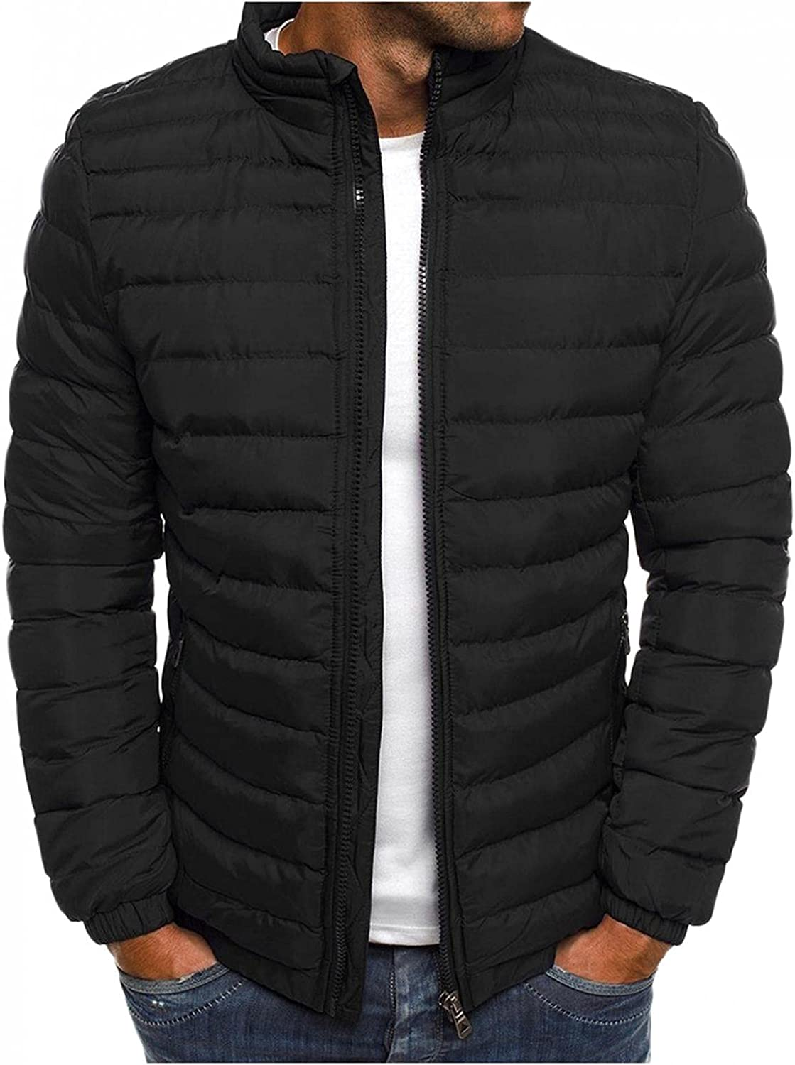 LEIYAN Mens Lightweight Packable Down Jacket Zip Up Long Sleeve Stand Collar Casual Cotton Coat Outerwear for Travel