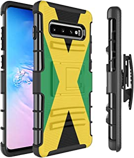 Moriko Case Compatible with Galaxy S10 Plus [Armor Layer Drop Protection Shockproof Kickstand Holster Combo Black Case] for Samsung Galaxy S10 Plus S 10+ (2019) - (Jamaica Flag)