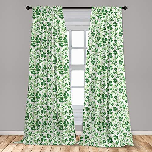 Lunarable Shamrock 2 Panel Curtain Set, Lucky Celtic Clovers Swirls Monochrome Irish Design St Patrick's Day, Lightweight Window Treatment Living Room Bedroom Decor, 56' x 84', Green Emerald
