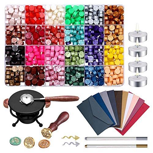 HoJoor 24 Colori Retro Vintage Kit Timbro Sigillo di Cera, Perline di ceralacca 624 PCS, Perline di ceralacca Ottagonale con Cucchiaio e Candele Bianche per Lettera di affrancatura (012)