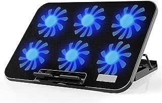 ZUIZUI Bärbar dator kylplatta laptop kylplatta 12-17,2 tum dator-kylare kylplatta 6 fläktar och 2 USB 2 400 RPM