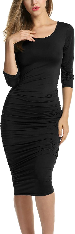 ELESOL Women's Summer Sleeveless Basic Bodycon Casual Midi Tank Dress